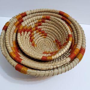 3 Round Straw Nesting Baskets Orange Yellow Accent